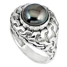 Metalic gun metal round shape 925 sterling silver ring jewelry size 8.5 k21084