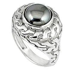 925 sterling silver metalic gun metal round shape ring jewelry size 8 k21085