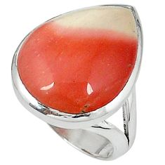 Natural brown mookaite pear 925 sterling silver ring jewelry size 7 k22315