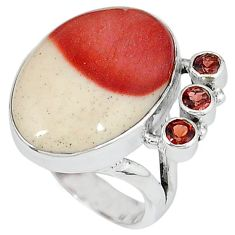 Natural brown mookaite red garnet 925 sterling silver ring size 7.5 k22424