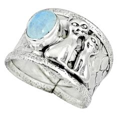 925 sterling silver natural rainbow moonstone two cats ring size 8 k32933