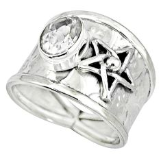 Natural white topaz 925 sterling silver star of david ring jewelry size 7 k32962