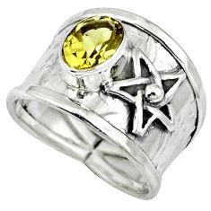 Natural yellow citrine 925 sterling silver star of david ring size 7.5 k32972