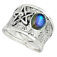 Natural blue labradorite 925 silver star of david ring jewelry size 6.5 k32978
