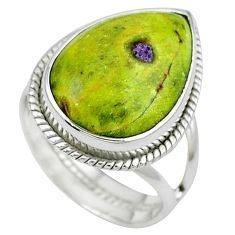 Atlantisite (tasmanite) stichtite-serpentine 925 silver ring size 6.5 k33409