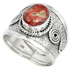 925 sterling silver natural red birds eye oval ring jewelry size 8 k36869
