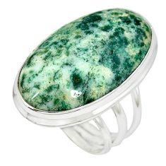 Natural white tree agate oval 925 sterling silver ring jewelry size 9 k38825