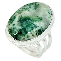925 sterling silver natural white tree agate ring jewelry size 8 k38828