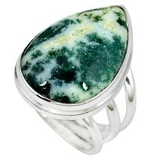 Natural white tree agate pear 925 sterling silver ring jewelry size 6 k38829