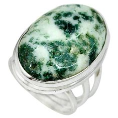 925 sterling silver natural white tree agate oval ring jewelry size 7 k38830