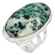 Natural white tree agate 925 sterling silver ring jewelry size 6 k38831