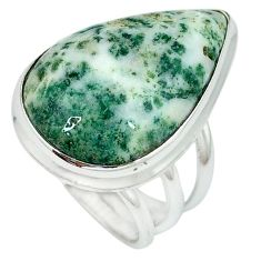 925 sterling silver natural white tree agate pear shape ring size 5.5 k38835