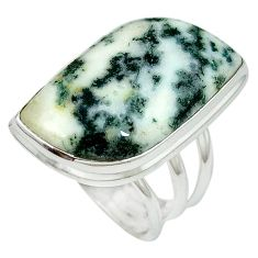 Natural white tree agate 925 sterling silver ring jewelry size 8.5 k38837