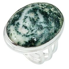 Natural white tree agate oval 925 sterling silver ring size 7.5 k38838