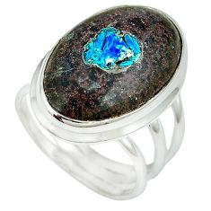 Natural blue cavansite 925 sterling silver ring jewelry size 9 k38840