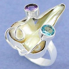 925 silver natural white mother of pearl amethyst ring jewelry size 8.5 k39443