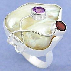 Natural white mother of pearl purple amethyst 925 silver ring size 9 k39445