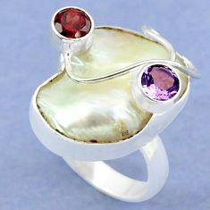Natural white mother of pearl amethyst 925 silver ring jewelry size 9 k39447