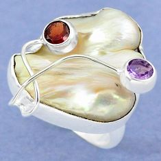 Natural white mother of pearl purple amethyst 925 silver ring size 8 k39448