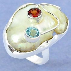 Natural white mother of pearl garnet 925 sterling silver ring size 7 k39449