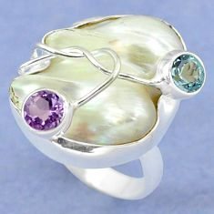 925 silver natural white mother of pearl amethyst ring jewelry size 8 k39451
