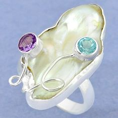 Natural white mother of pearl purple amethyst 925 silver ring size 7.5 k39452