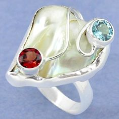 Natural white mother of pearl red garnet 925 silver ring size 7 k39453
