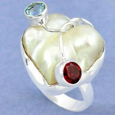 Natural white mother of pearl garnet 925 sterling silver ring size 6 k39456