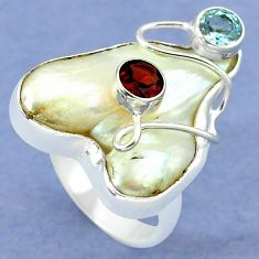 Natural white mother of pearl garnet 925 silver ring jewelry size 7 k39457