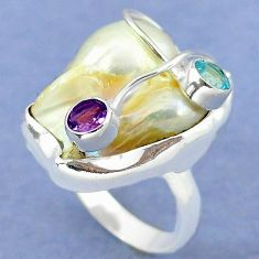925 sterling silver natural white mother of pearl amethyst ring size 8.5 k39460