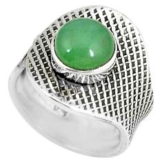 925 sterling silver green jade round adjustable ring jewelry size 6 k46239