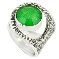 Green jade round shape 925 sterling silver ring jewelry size 4 k46245