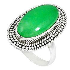 925 sterling silver green jade oval shape ring jewelry size 7 k48000