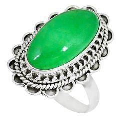 Green jade oval shape 925 sterling silver ring jewelry size 7 k50082
