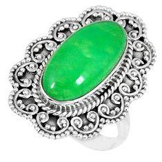 925 sterling silver green jade oval shape ring jewelry size 8 k50116