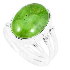 Natural green gaspeite 925 sterling silver ring jewelry size 8 k55821