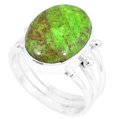 Natural green gaspeite 925 sterling silver ring jewelry size 8 k55822