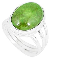 Natural green gaspeite 925 sterling silver ring jewelry size 8 k55825