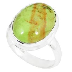 Natural green gaspeite 925 sterling silver ring jewelry size 7.5 k55827