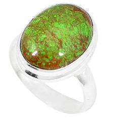 Natural green gaspeite 925 sterling silver ring jewelry size 7 k55829