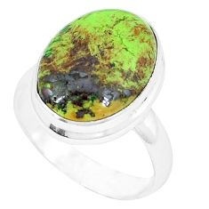 Natural green gaspeite 925 sterling silver ring jewelry size 7.5 k55832