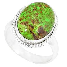 Natural green gaspeite 925 sterling silver ring jewelry size 8 k55833