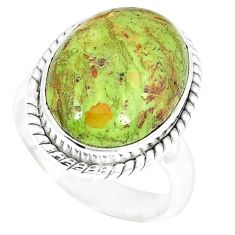 Natural green gaspeite 925 sterling silver ring jewelry size 6 k55835