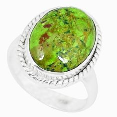 925 sterling silver natural green gaspeite oval ring jewelry size 8 k55837