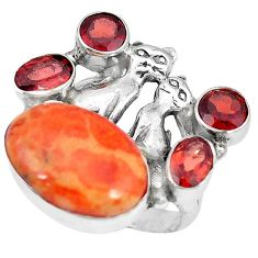 Red copper turquoise red garnet 925 silver two cats ring size 7 k61422