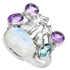 925 silver natural rainbow moonstone amethyst two cats ring size 7.5 k61424
