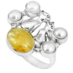 Natural golden tourmaline rutile pearl 925 silver two cats ring size 9 k61425