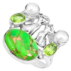Green copper turquoise peridot 925 silver two cats ring size 7.5 k61427