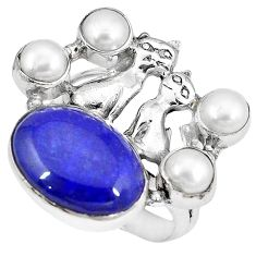 925 silver natural blue lapis lazuli white pearl two cats ring size 8 k61428