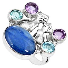 Natural blue kyanite amethyst topaz 925 silver two cats ring size 6.5 k61431